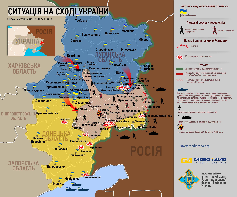Карта АТО по состоянию на 22 июля